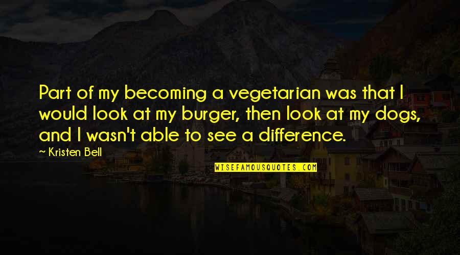 Jim Cornette Shoot Quotes By Kristen Bell: Part of my becoming a vegetarian was that