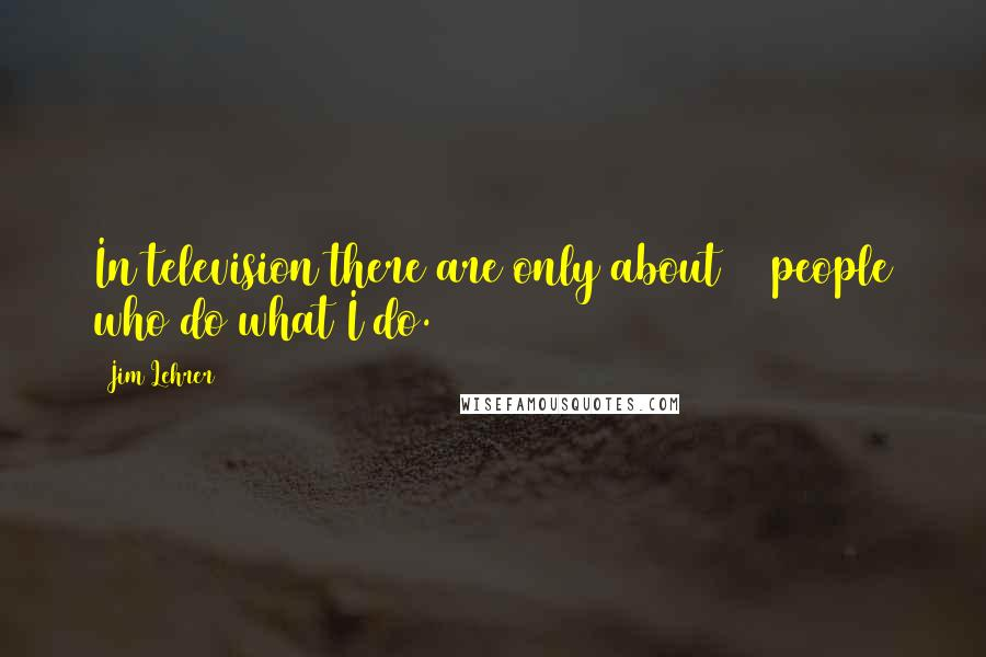 Jim Lehrer quotes: In television there are only about 12 people who do what I do.