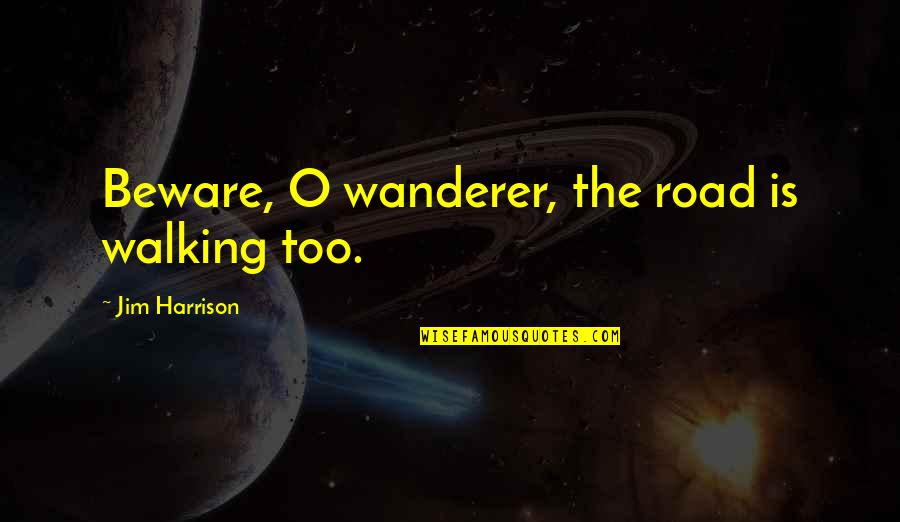 Jim O'neill Quotes By Jim Harrison: Beware, O wanderer, the road is walking too.