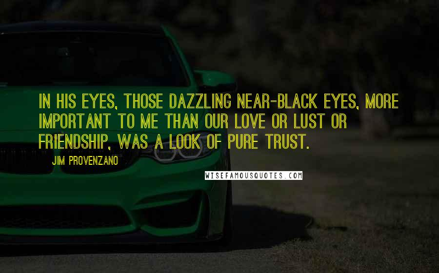 Jim Provenzano quotes: In his eyes, those dazzling near-black eyes, more important to me than our love or lust or friendship, was a look of pure trust.
