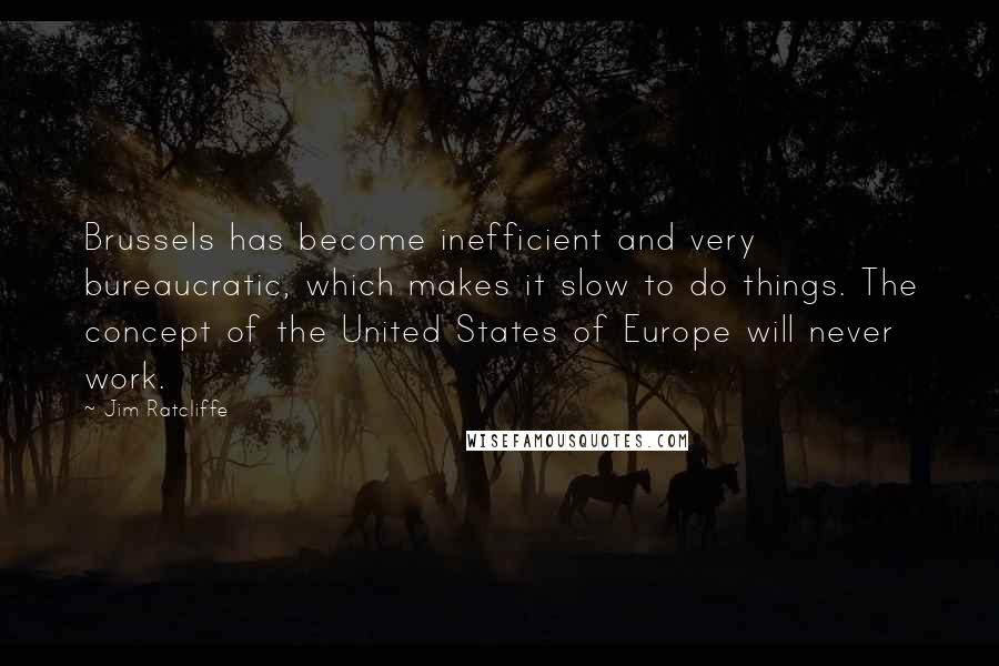 Jim Ratcliffe quotes: Brussels has become inefficient and very bureaucratic, which makes it slow to do things. The concept of the United States of Europe will never work.
