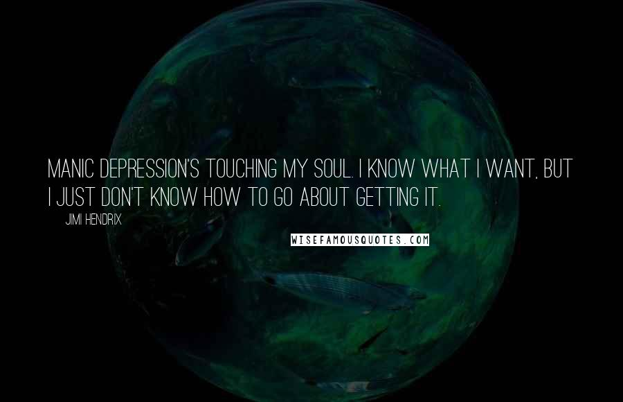 Jimi Hendrix quotes: Manic depression's touching my soul. I know what I want, but I just don't know how to go about getting it.