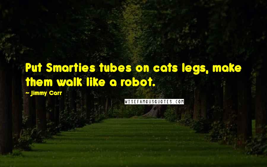 Jimmy Carr quotes: Put Smarties tubes on cats legs, make them walk like a robot.