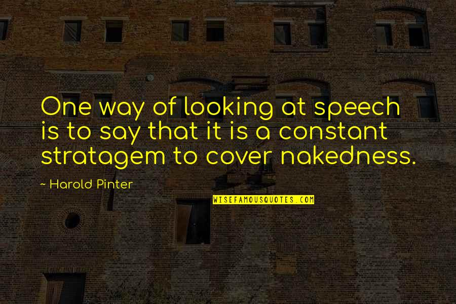 Jm Coetzee Youth Quotes By Harold Pinter: One way of looking at speech is to