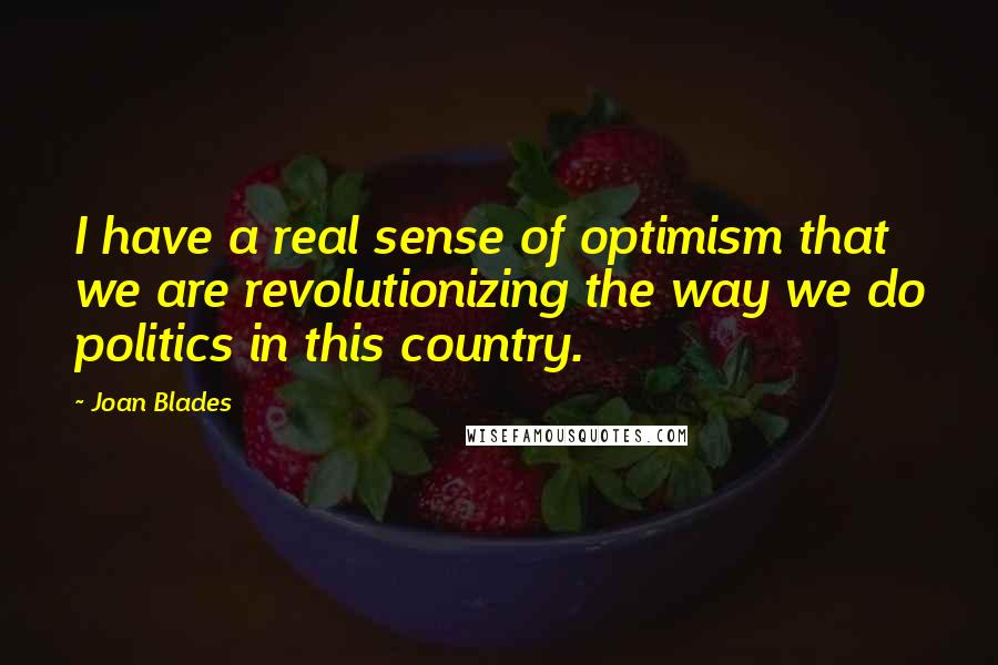 Joan Blades quotes: I have a real sense of optimism that we are revolutionizing the way we do politics in this country.