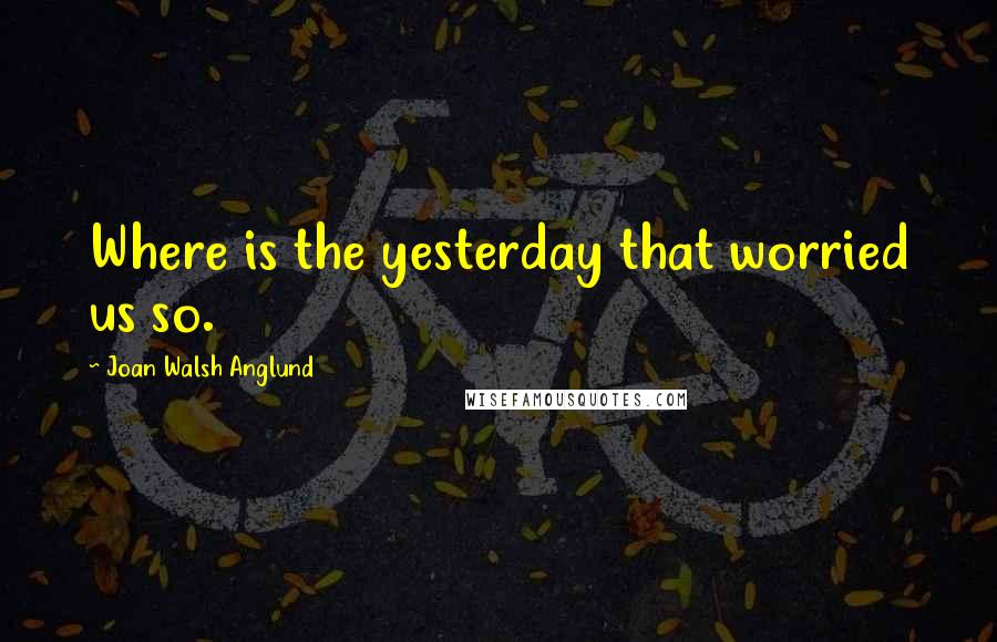 Joan Walsh Anglund quotes: Where is the yesterday that worried us so.