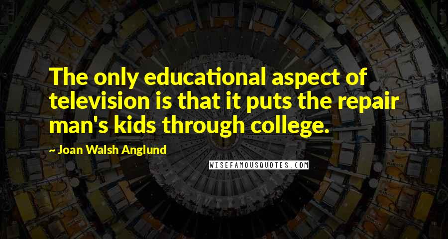Joan Walsh Anglund quotes: The only educational aspect of television is that it puts the repair man's kids through college.