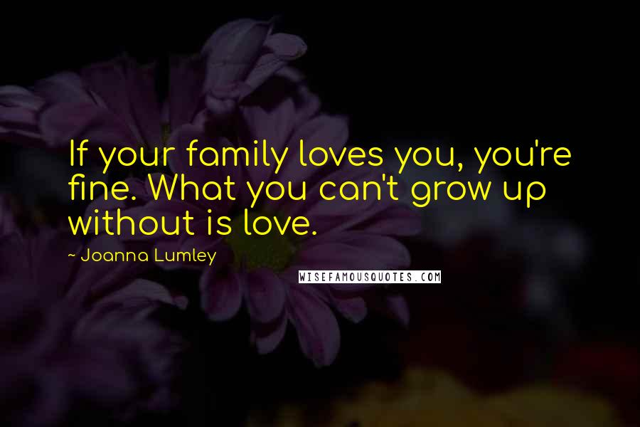 Joanna Lumley quotes: If your family loves you, you're fine. What you can't grow up without is love.