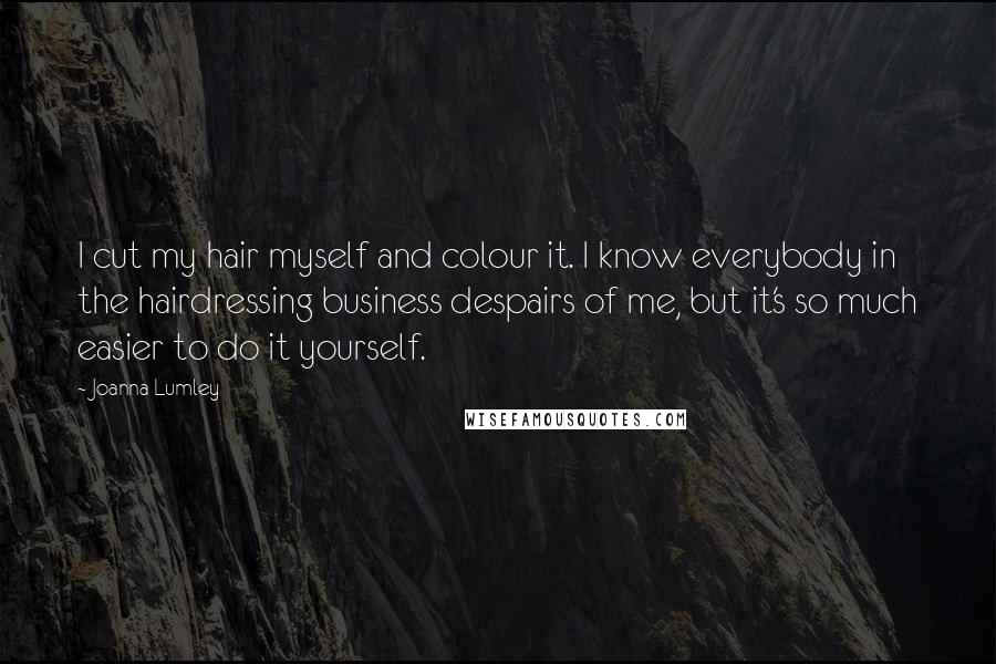 Joanna Lumley quotes: I cut my hair myself and colour it. I know everybody in the hairdressing business despairs of me, but it's so much easier to do it yourself.