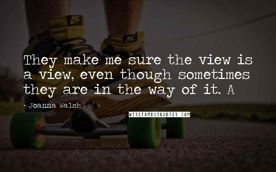 Joanna Walsh quotes: They make me sure the view is a view, even though sometimes they are in the way of it. A