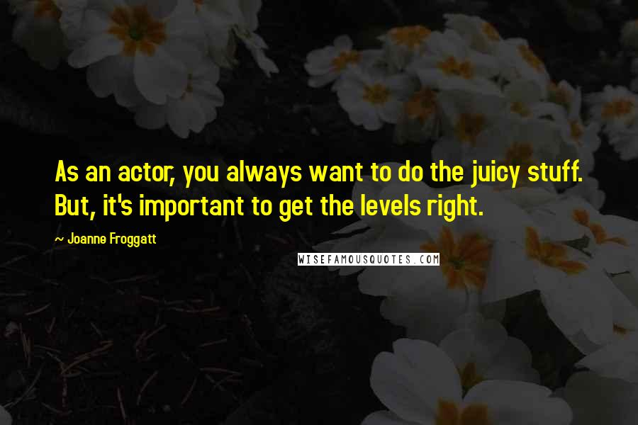 Joanne Froggatt quotes: As an actor, you always want to do the juicy stuff. But, it's important to get the levels right.