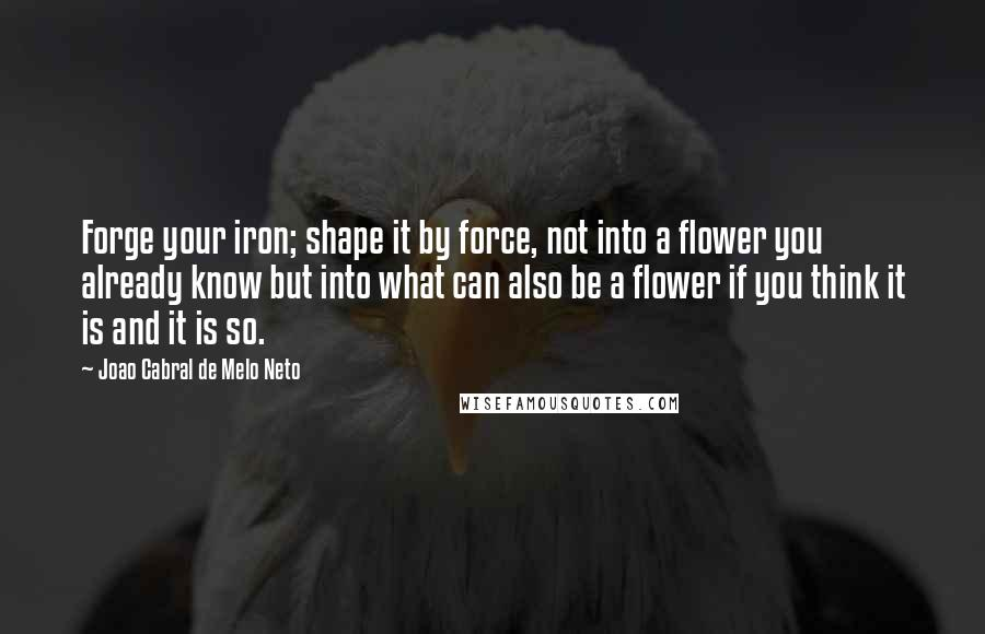 Joao Cabral De Melo Neto quotes: Forge your iron; shape it by force, not into a flower you already know but into what can also be a flower if you think it is and it is