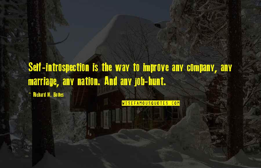 Job Hunt Quotes By Richard N. Bolles: Self-introspection is the way to improve any company,