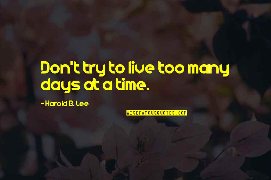 Job Seekers Funny Quotes By Harold B. Lee: Don't try to live too many days at