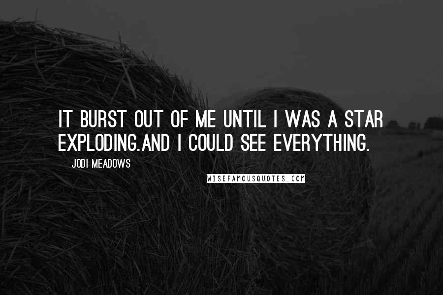Jodi Meadows quotes: It burst out of me until I was a star exploding.And I could see everything.