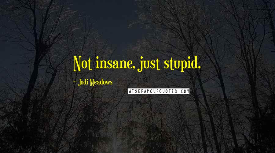 Jodi Meadows quotes: Not insane, just stupid.