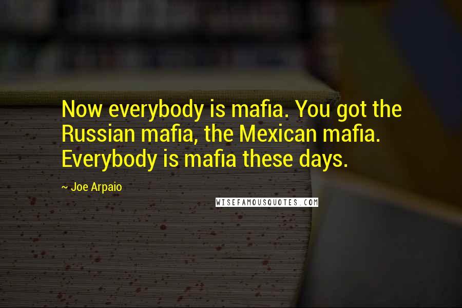 Joe Arpaio quotes: Now everybody is mafia. You got the Russian mafia, the Mexican mafia. Everybody is mafia these days.