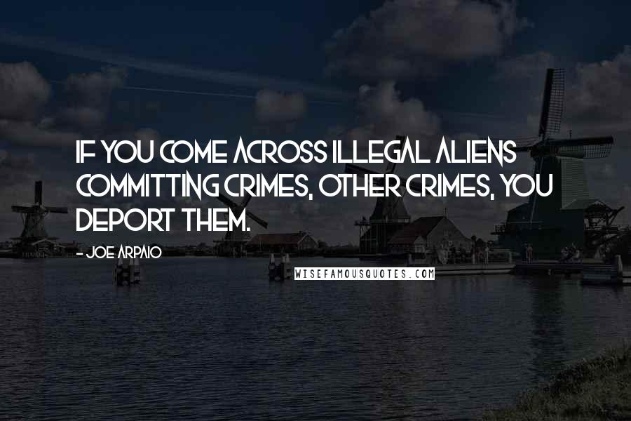 Joe Arpaio quotes: If you come across illegal aliens committing crimes, other crimes, you deport them.