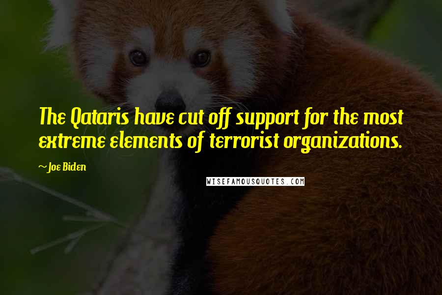 Joe Biden quotes: The Qataris have cut off support for the most extreme elements of terrorist organizations.
