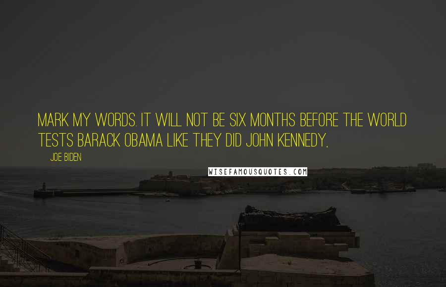Joe Biden quotes: Mark my words. It will not be six months before the world tests Barack Obama like they did John Kennedy,