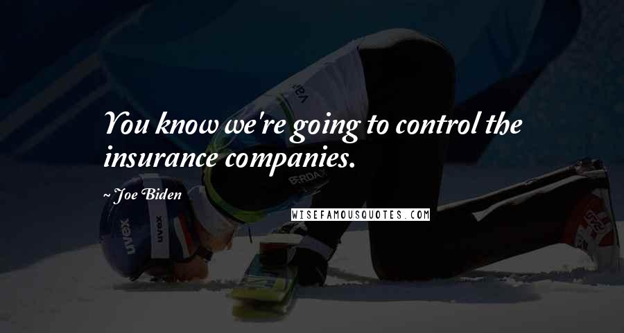 Joe Biden quotes: You know we're going to control the insurance companies.