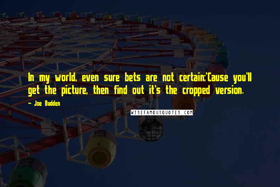 Joe Budden quotes: In my world, even sure bets are not certain;'Cause you'll get the picture, then find out it's the cropped version.
