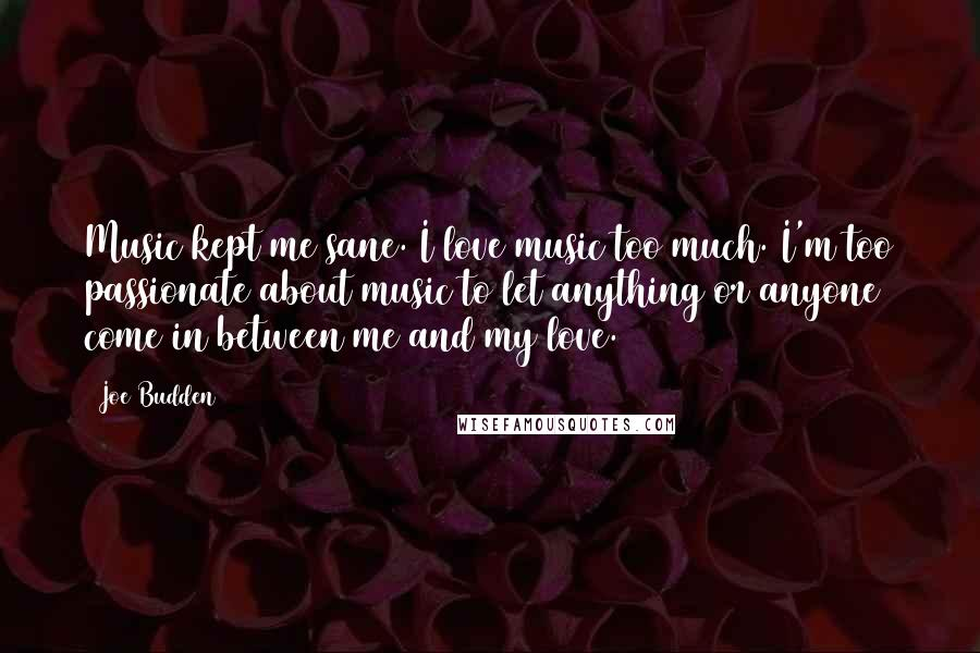 Joe Budden quotes: Music kept me sane. I love music too much. I'm too passionate about music to let anything or anyone come in between me and my love.
