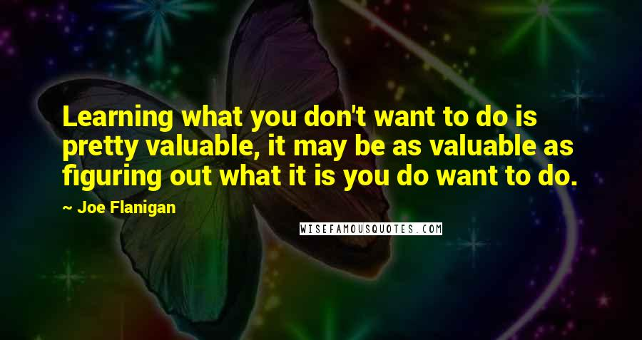 Joe Flanigan quotes: Learning what you don't want to do is pretty valuable, it may be as valuable as figuring out what it is you do want to do.