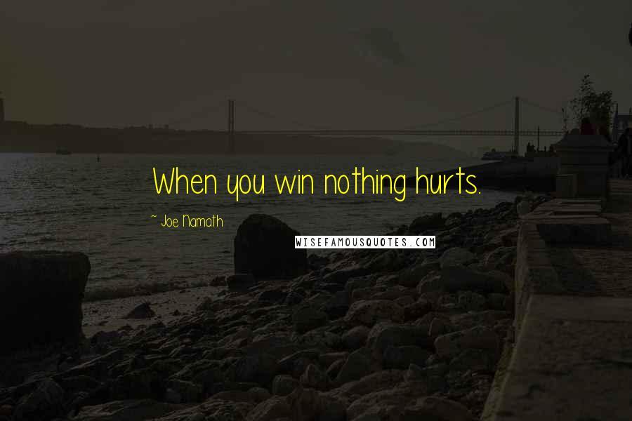 Joe Namath quotes: When you win nothing hurts.