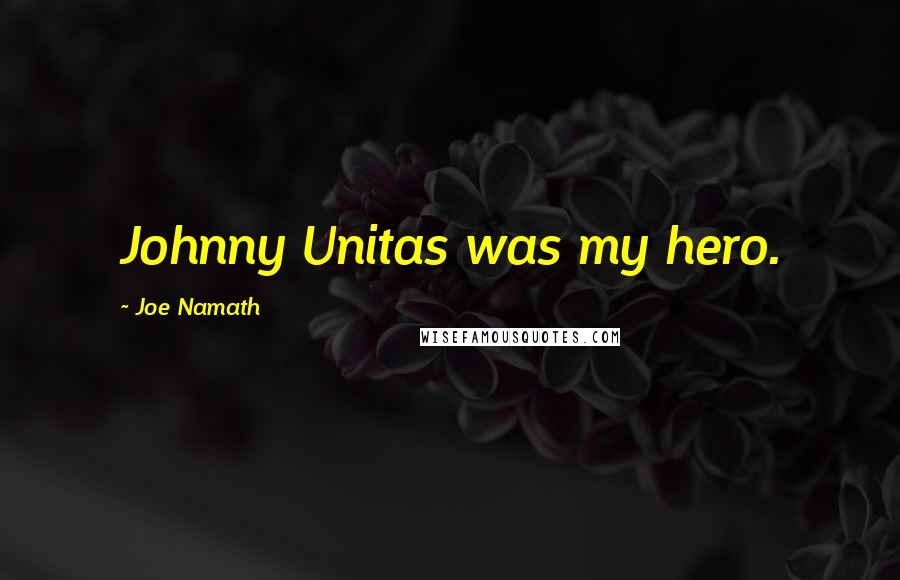 Joe Namath quotes: Johnny Unitas was my hero.
