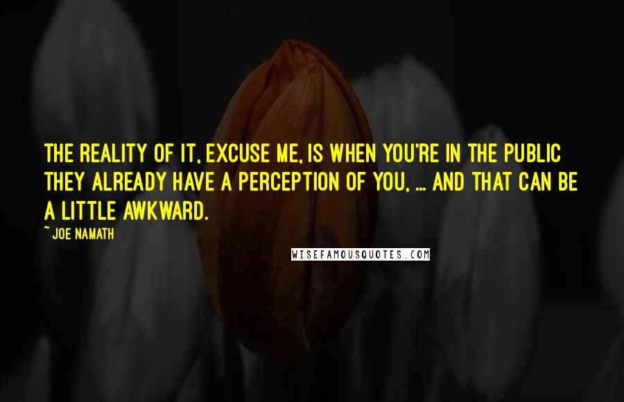 Joe Namath quotes: The reality of it, excuse me, is when you're in the public they already have a perception of you, ... And that can be a little awkward.
