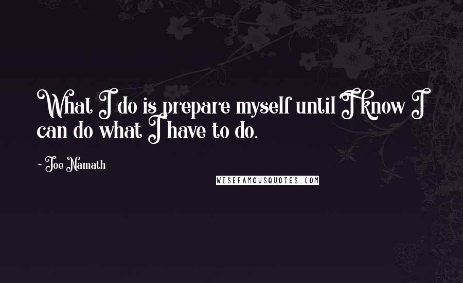 Joe Namath quotes: What I do is prepare myself until I know I can do what I have to do.