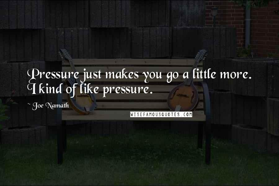 Joe Namath quotes: Pressure just makes you go a little more. I kind of like pressure.