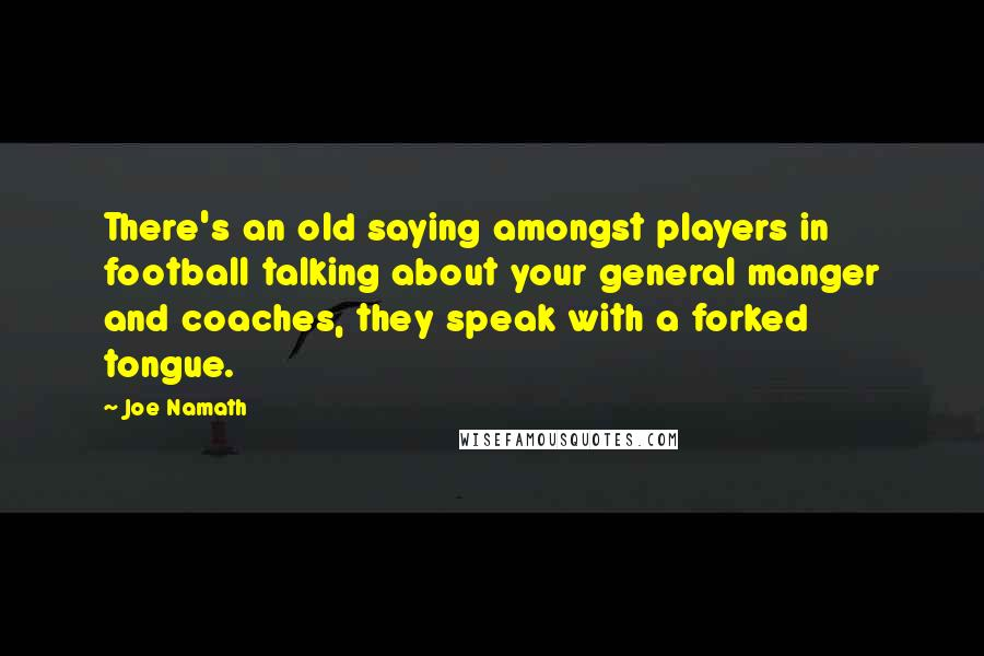 Joe Namath quotes: There's an old saying amongst players in football talking about your general manger and coaches, they speak with a forked tongue.