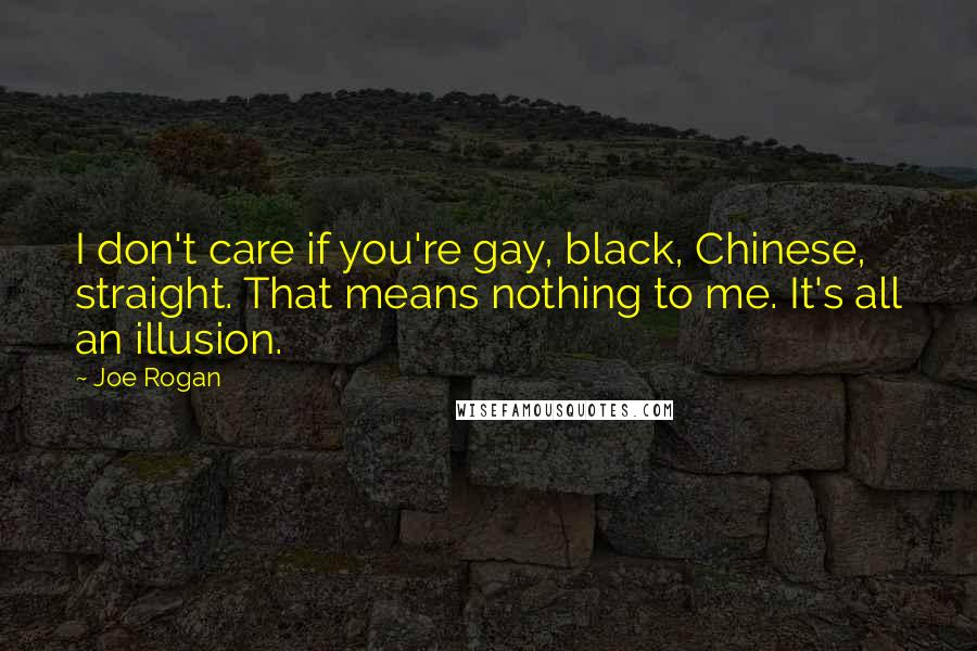 Joe Rogan quotes: I don't care if you're gay, black, Chinese, straight. That means nothing to me. It's all an illusion.