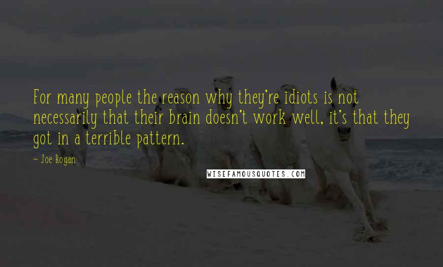 Joe Rogan quotes: For many people the reason why they're idiots is not necessarily that their brain doesn't work well, it's that they got in a terrible pattern.