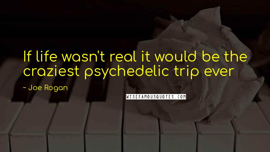 Joe Rogan quotes: If life wasn't real it would be the craziest psychedelic trip ever