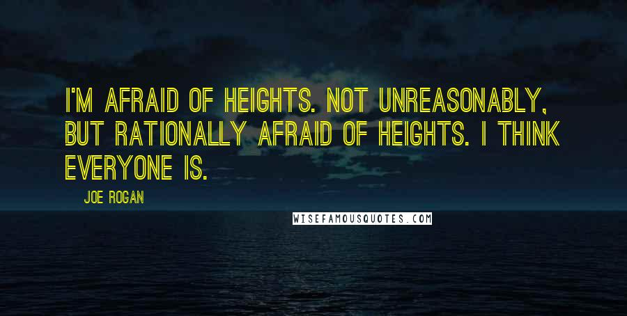 Joe Rogan quotes: I'm afraid of heights. Not unreasonably, but rationally afraid of heights. I think everyone is.