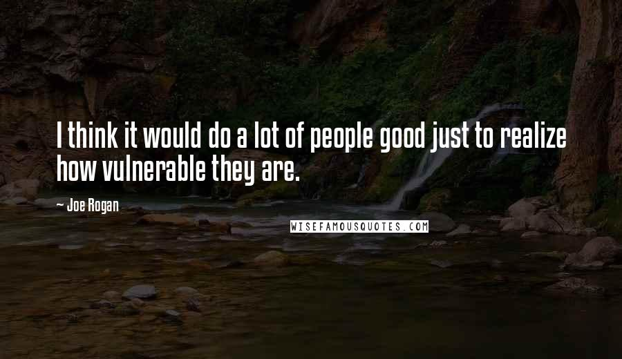 Joe Rogan quotes: I think it would do a lot of people good just to realize how vulnerable they are.