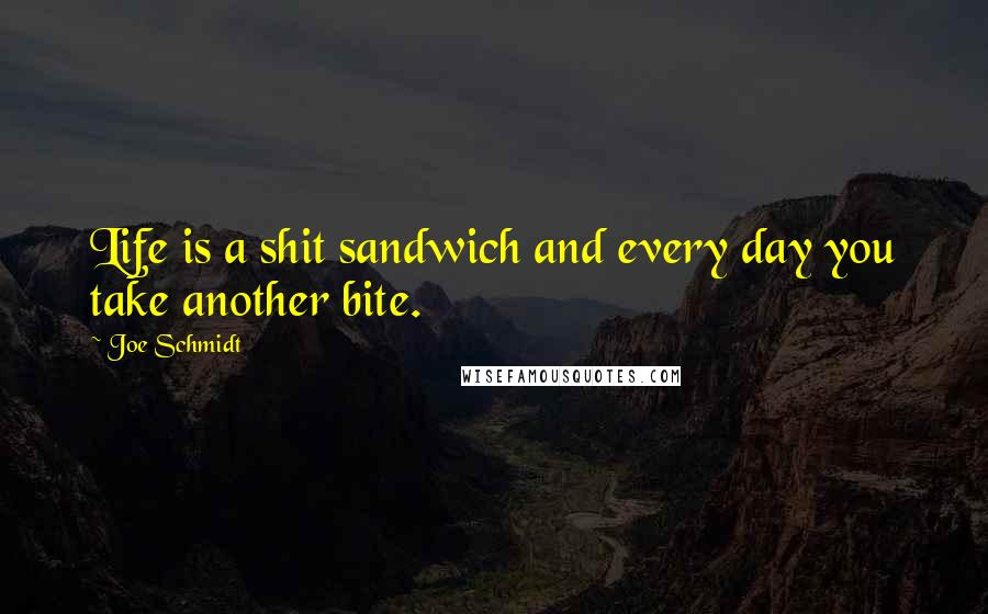 Joe Schmidt quotes: Life is a shit sandwich and every day you take another bite.