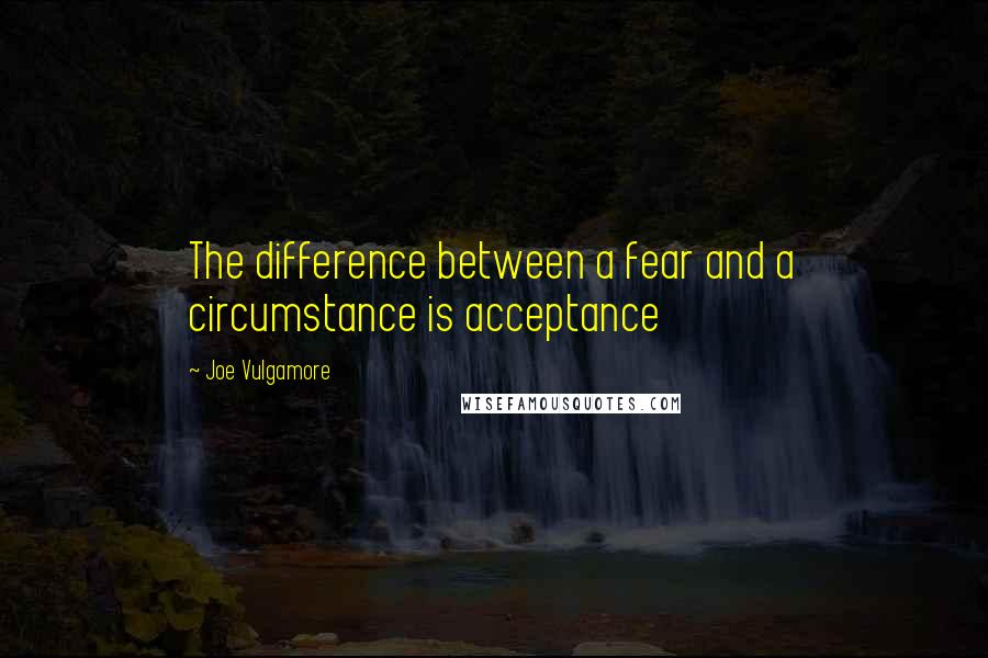Joe Vulgamore quotes: The difference between a fear and a circumstance is acceptance