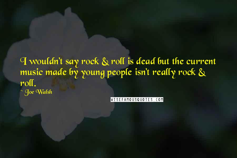Joe Walsh quotes: I wouldn't say rock & roll is dead but the current music made by young people isn't really rock & roll.