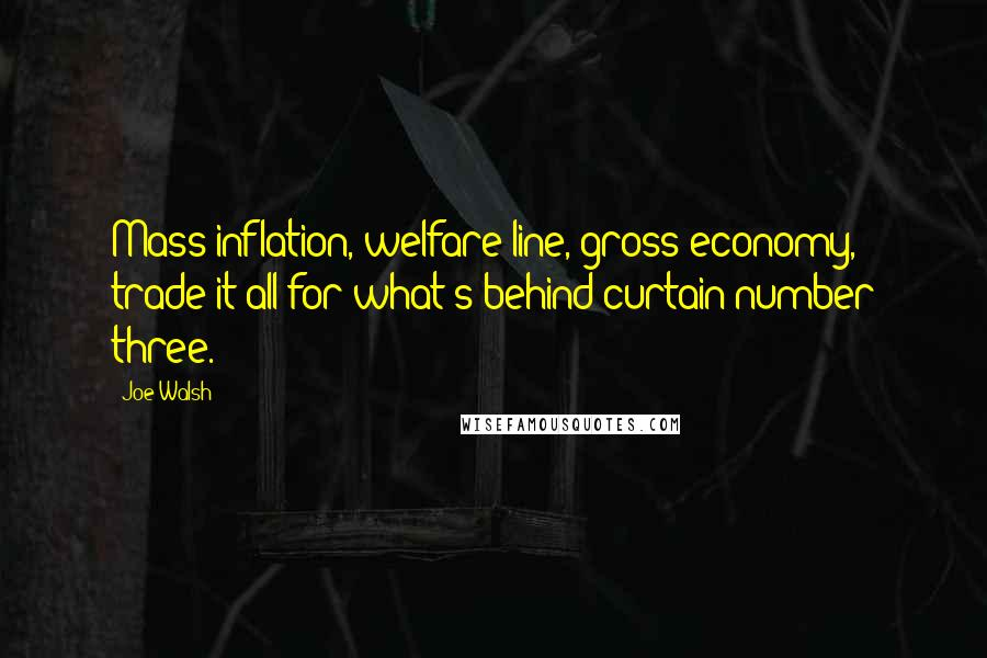Joe Walsh quotes: Mass inflation, welfare line, gross economy, trade it all for what's behind curtain number three.