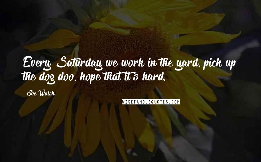 Joe Walsh quotes: Every Saturday we work in the yard, pick up the dog doo, hope that it's hard.