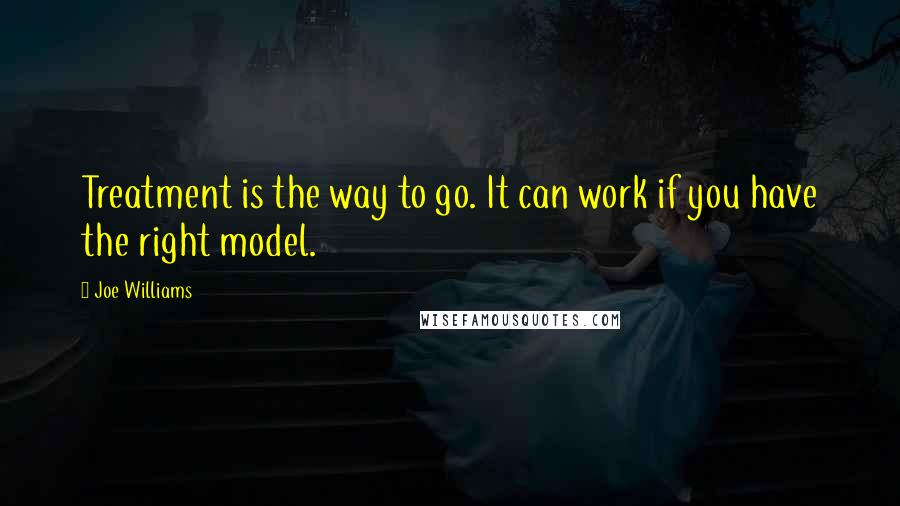 Joe Williams quotes: Treatment is the way to go. It can work if you have the right model.