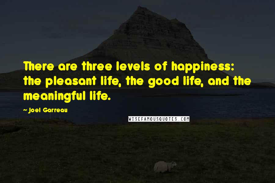Joel Garreau quotes: There are three levels of happiness: the pleasant life, the good life, and the meaningful life.
