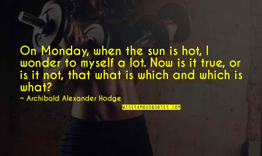 Joel Mchale Quotes By Archibald Alexander Hodge: On Monday, when the sun is hot, I