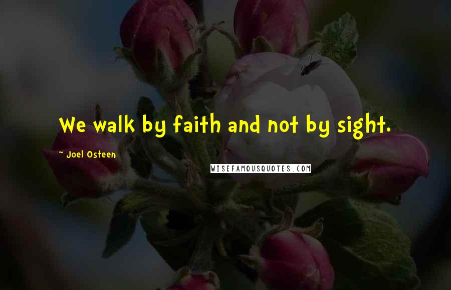 Joel Osteen quotes: We walk by faith and not by sight.