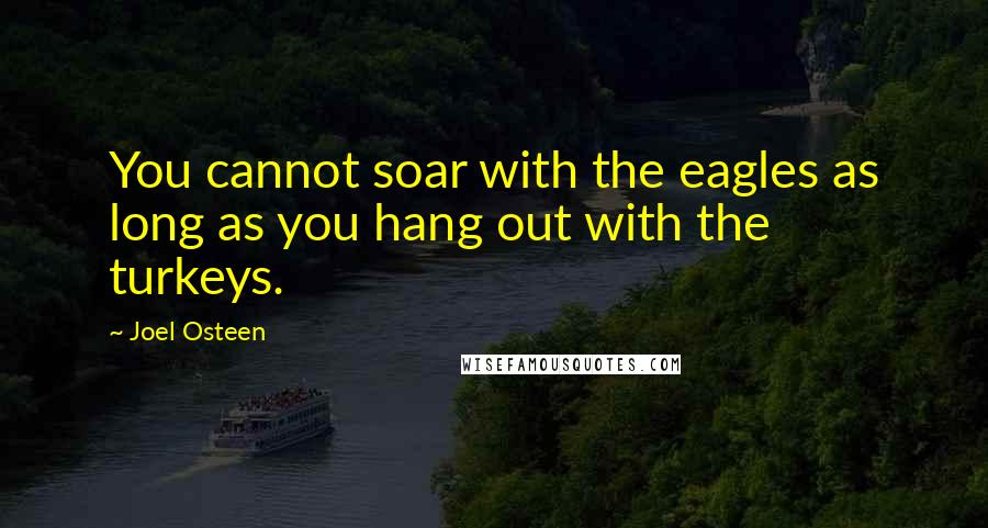 Joel Osteen quotes: You cannot soar with the eagles as long as you hang out with the turkeys.