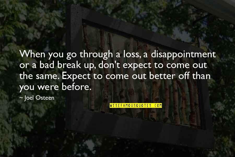 Joel Osteen Quotes By Joel Osteen: When you go through a loss, a disappointment